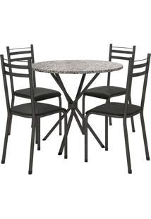 Conjunto De Mesa 80Cm 4 Cadeiras Lyon Preto Fabone