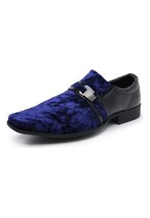 Sapato Social Masculino Verniz Com Veludo Schiareli Azul