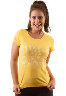 Camiseta Irun Baby Look Algodão Sunday Runday Amarelo