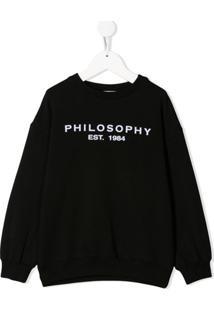 Philosophy Di Lorenzo Serafini Kids Moletom Com Logo - Preto