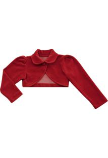 Bolero Infantil Libelinha Em Plush Vermelho