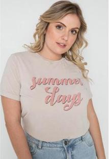 T-Shirt Summer Days Sislla Feminina - Feminino-Bege