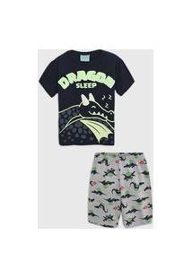 Pijama Kyly Curto Infantil Dragão Azul-Marinho/Cinza