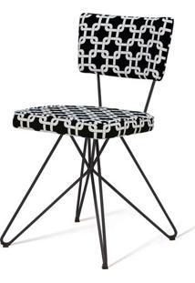 Cadeira Pop Retro Estampa Rolls Preto Base Estrela Preta - 49603 - Sun House