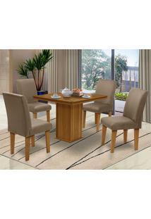 Mesa Para Sala De Jantar Com 4 Cadeiras Saint Thomas – Dobuê Movelaria - Mell / Mascavo