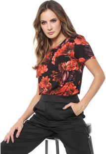 Camiseta Lança Perfume Floral Com Bolso Preta/Vermelha