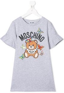 Moschino Kids Vestido Com Estampa Gráfica - Cinza
