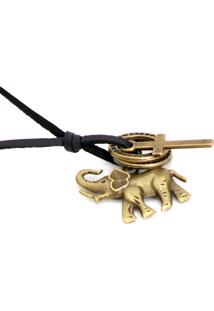 Colar Lovelee Acessórios De Couro Elefante Old Preto