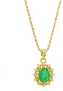 Colar Dona Diva Semi Joias Princesa Oval Verde Esmeralda
