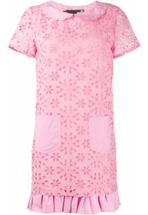 Love Moschino Vestido Com Estampa Floral E Bordado Inglês - Rosa