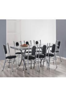 Conjunto De Mesa De Jantar Com 8 Cadeiras Milano Branco E Preto
