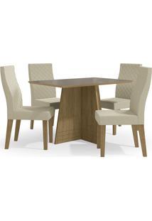 Mesa Para Sala De Jantar Com 4 Cadeiras Ba25-Kappesberg - Freijo / Bege