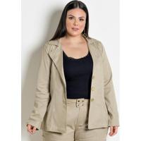 8be2ff7718 Blazer Feminino Plus Size Bege