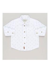 Camisa Infantil Estampada De Coqueiros Manga Longa Branca