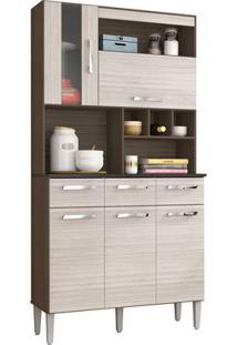 Cozinha Compacta Melissa 5 Portas Capuccino E Amêndoa Poquema