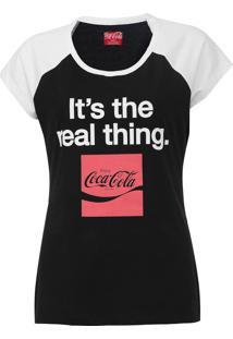 Camiseta Coca-Cola Jeans Aroma Preto/Branco