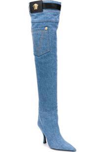 Versace Bota Over The Knee - Azul