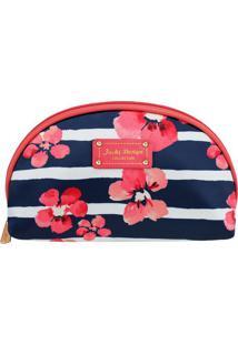 Nécessaire Floral Com Tag- Azul Escuro & Vermelha- 2Jacki Design