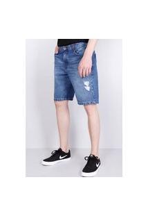 Bermuda Jeans Escuro Puídos Gang Masculina