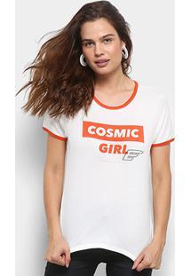Camiseta Ellus Cosmic Girl Retrô Feminina - Feminino-Off White+Vermelho