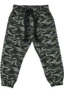 Calça Look Jeans Jogger Camuflada Masculina Infantil - Masculino-Verde