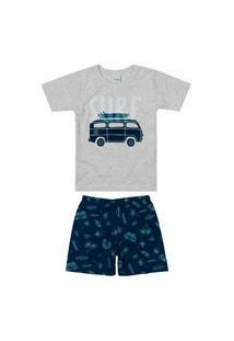 Pijama Infantil Menino Curto Malwee 1000083394 Cinza
