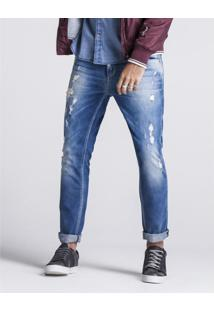 Calça Khelf Calça Jeans Masculina Skinny Destroyed Azul