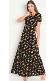 Vestido Com Tiras Floral Dark Moda Evangélica