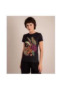 Camiseta De Algodão Onça Pintada Com Flores Manga Curta Decote Redondo Preta