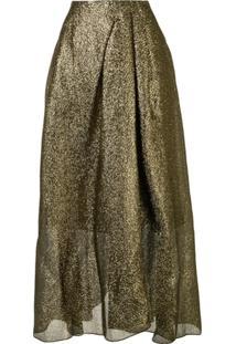 Roland Mouret A-Line Metallic Skirt - Dourado
