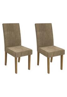 Conjunto 2 Cadeiras Estofadas Suede Kappesberg Cad131 Freijó/Caramelo
