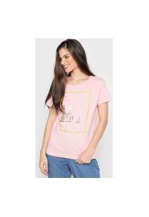 Camiseta Polo Wear Lettering Rosa