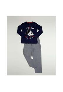 Pijama Infantil Listrado Mickey Disney Tam 2 A 10