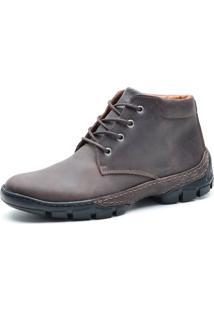 Bota Cano Curto Over Boots Urbana Couro Horse Marrom - Kanui
