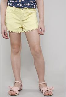 Short De Sarja Infantil Com Pompom Amarelo