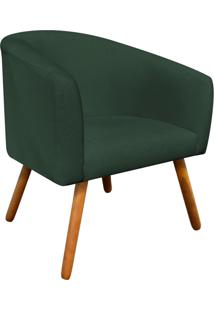 Poltrona Decorativa Stella Linho Verde A49 Pés Palito - D'Rossi