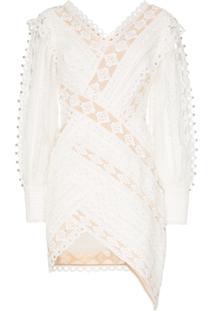 Zimmermann Vestido Moncure Com Detalhe De Renda E Aplicações - Branco