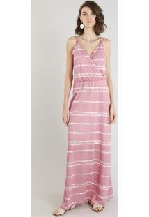 2bcb04459 Vestido Feminino Longo Estampado Alça Dupla Decote V Rosa