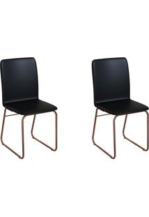 Conjunto Com 2 Cadeiras Hawke Preto E Cobre