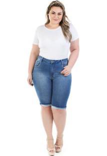 Bermuda Jeans Feminina Squash Com Elastano Plus Size - Feminino-Azul