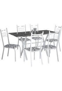 Conjunto De Mesa Miami Com 6 Cadeiras Lisboa Branco Liso E Branco Floral
