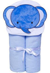 Toalha De Banho Papi Toys- Azul & Branca- 70X90Cmpapi