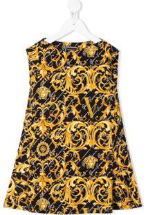 Young Versace Vestido Com Estampa De Filigrana - Preto