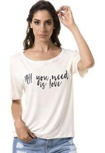 Camiseta Bloom All You Need Is Love Feminina - Feminino-Creme