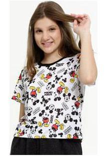 Blusa Juvenil Estampa Mickey Manga Curta Disney