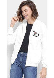 Jaqueta Moletom Lily Fashion Textura Coração Capuz Feminino - Feminino-Branco