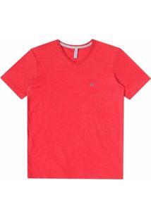 Camiseta Infantil Johnny Fox Algodão Lisa Básica Gola V Masculina - Masculino-Vermelho