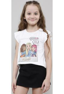 Blusa Infantil Barbie Com Paetê Babado Na Manga Off White