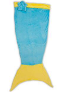 Manta Infantil Sereia- Azul & Amarela- 60X140Cm-Buettner