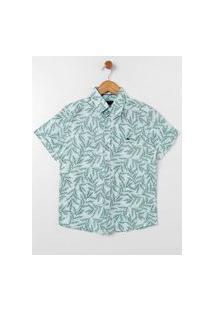Camisa Manga Curta Juvenil Para Menino - Verde